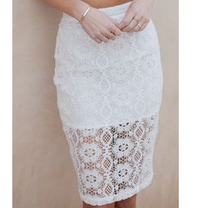Lovers and friends white lace jet set midi skirt
